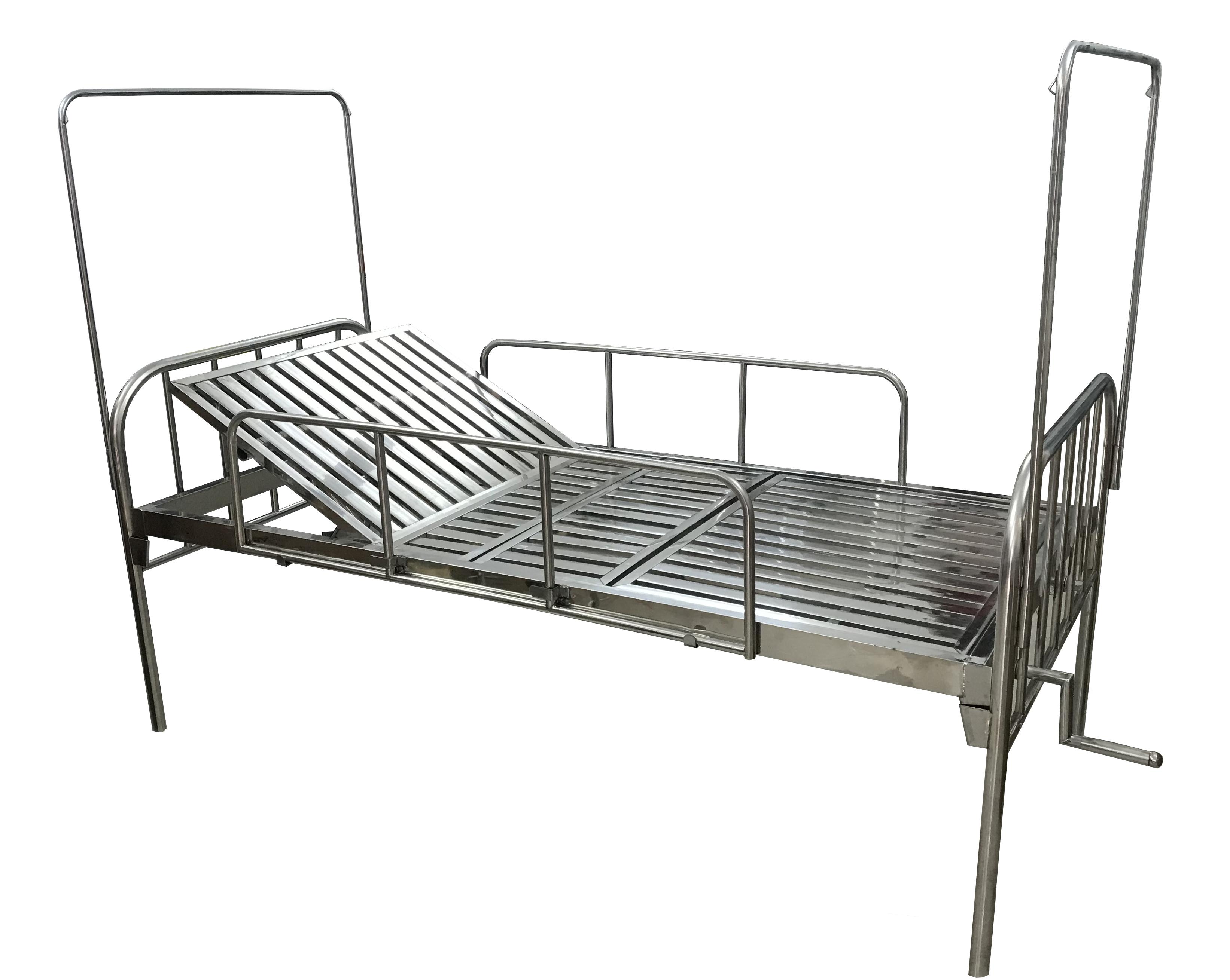 Giường inox bệnh nhân 1 tay quay