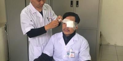 Thái Bình: Đang cấp cứu bệnh nhân  bác sĩ bị đánh gẫy xương sống mũi  chấn thương mắt trái